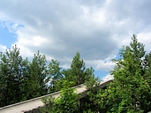 Sky over bobsled from 1984 Olympics.  By 1992 it was a tool in the war and ultimately destroyed.