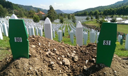 Freshly buried graves in the cemetery. A total of 175 individuals were identified this year.