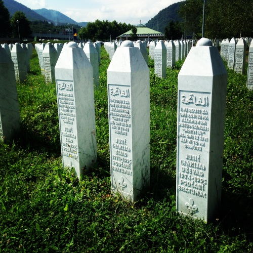 Graves of three brothers at memorial for victims of Srebrenica