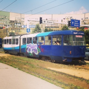 The beloved tram of Sarajevo (I think the cars of from the 1940's)