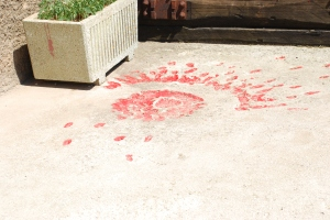 Sarajevo rose, craters from mortar shells in the pavement filled with paint or resin.