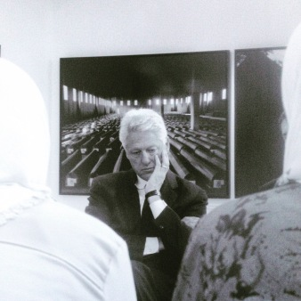 Photograph of Clinton from the Memorial at Potocari